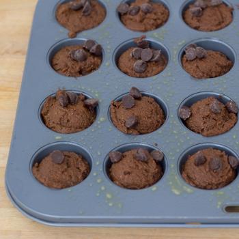 brownies batter in mini muffin pan