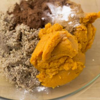 combining pumpkin puree, sugar, cinnamon, etc