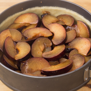 plums on pastry