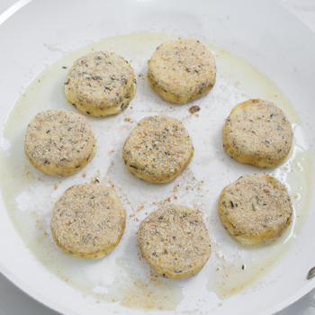 frying goat cheese rounds