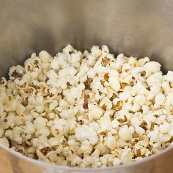 Popcorn popped in the big pot.