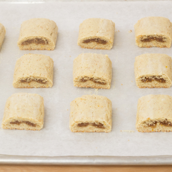 Fig bars cut into squares.