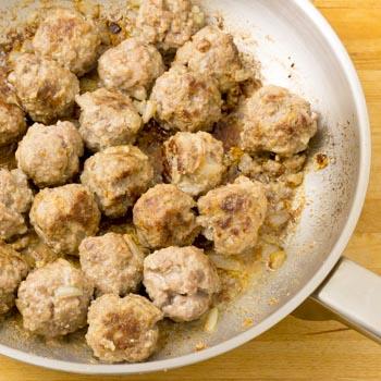 browning meatballs in pan
