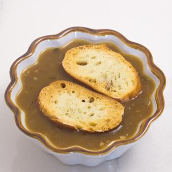 crostini on soup