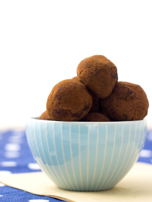 dark chocolate truffles in a bowl