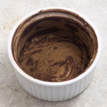 ramekin dusted with cocoa powder