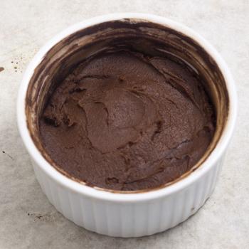 uncooked cake in ramekin