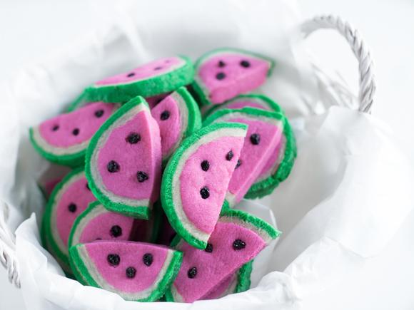 watermelon cookies in basket