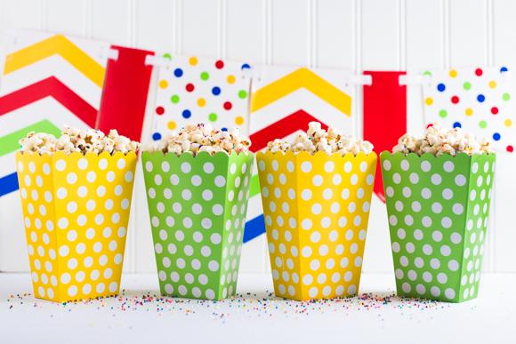 Popcorn in little popcorn holders.