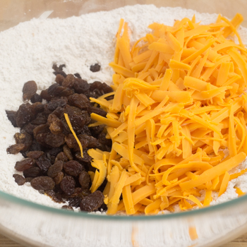 cheese, raisins, and flour