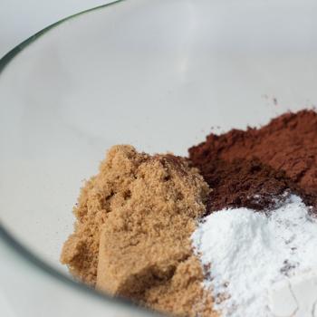 flour, chocolate chips, brown sugar, cocoa powder, espresso, baking powder, baking soda, and salt