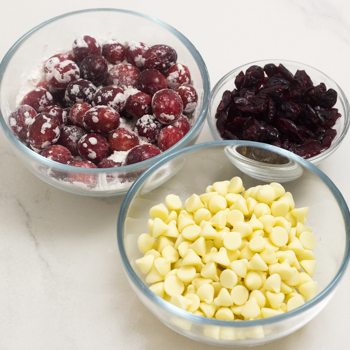 white chocolate chips, cranberries, and dried craisins