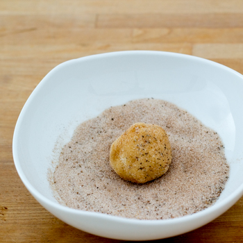 snickerdoodle cookie dough balls rolled in chai sugar topping