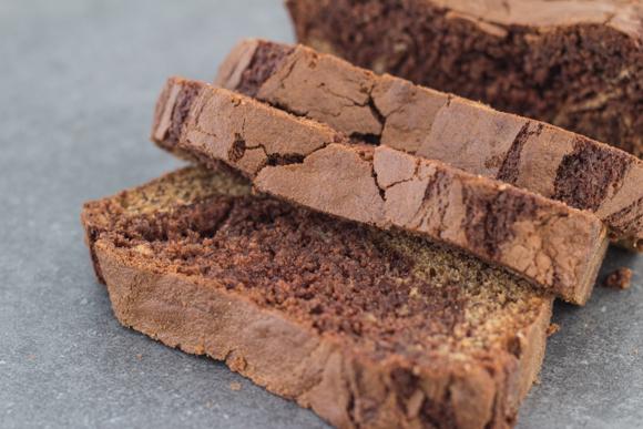 Sliced nutella banana bread.